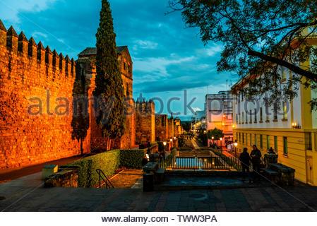 Old City Walls illumintated a twilight, Cordoba, Cordoba Province, Andalusia, Spain. - Stock Image
