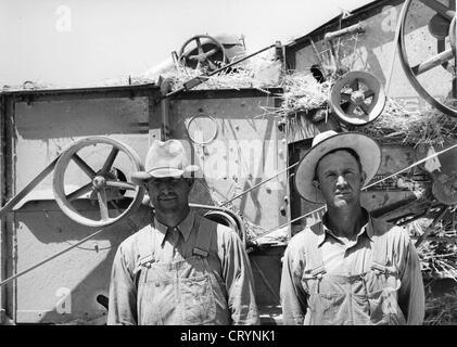 Members of FSA Cooperative Thresher, Box Elder County, Utah, 1940, by Russell Lee - Stock Image