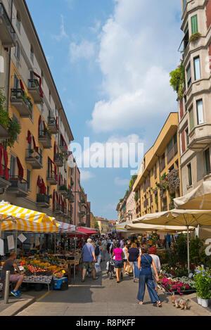 Vertical streetview in Milan, Italy. - Stock Image