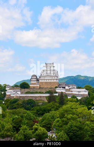 Himeji Castle seen from Otemae Park in Hyogo Prefecture, Japan. - Stock Image