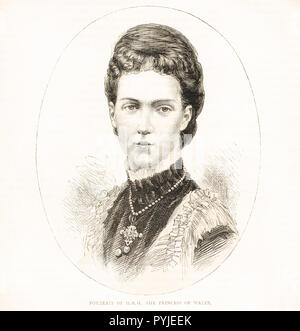Princess of Wales, Alexandra of Denmark, later Queen consort of King Edward VII, circa 1875 - Stock Image