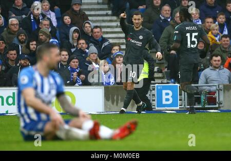 Eden Hazard of Chelsea celebrates scoring during the Premier League match between Brighton and Hove Albion and Chelsea - Stock Image