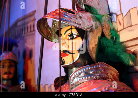 Close of of a large male Sicilian marionette / puppet with mustache - Stock Image