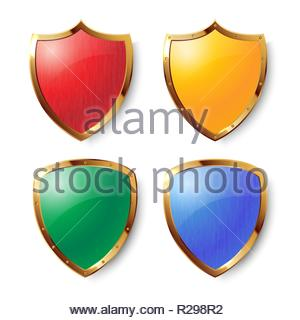 Collection of red, yellow, green and blue shields with golden frames with and without metal texture. Security symbol. Removable texture. - Stock Image