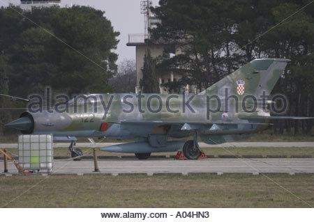 Pula Croatia Air show 2005 MiG21 BIS modernized Croatian Air Force parked - Stock Image