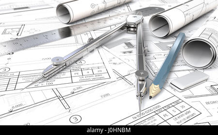 Architectural house blueprints , drawings and sketches. Rolls, Ruler, Pencil, Eraser and Divider of metal. Shallow - Stock Image