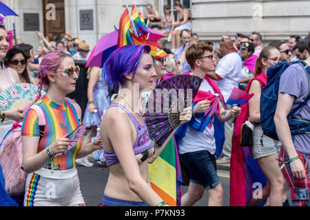 London, UK. 7th July 2018.  Participant with taped nipples at Pride in London Parade 2018  Credit Ian Davidson/Alamy Live News - Stock Image
