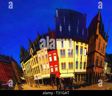 DIGITAL ART: Place de Marche at Echternach, Luxembourg - Stock Image