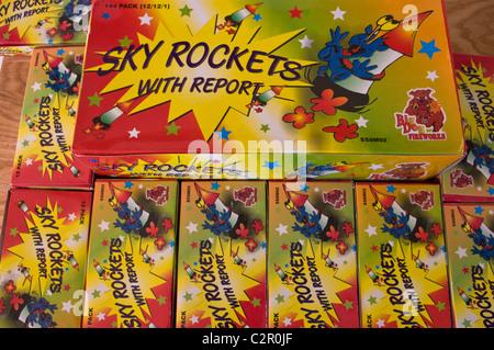 big dog fireworks, sky rockets, fire crackers - Stock Image
