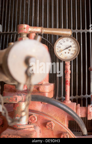 Pressure gage on old firetruck at Lincoln County Museum, Davenport, Washington State, USA. - Stock Image