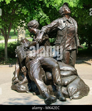Memorial to the nurses during the Vietnam War at the Vietnam Memorial in Washington DC - Stock Image