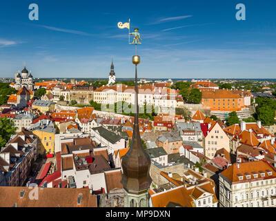 aerial view Tallinn medieval old town, Estonia, Europe. Weather vane Old Toomas (Thomas ) - Stock Image