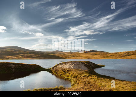 Beautiful landscape with lakes mountains and sky. Altai region, Siberia, Russia - Stock Image