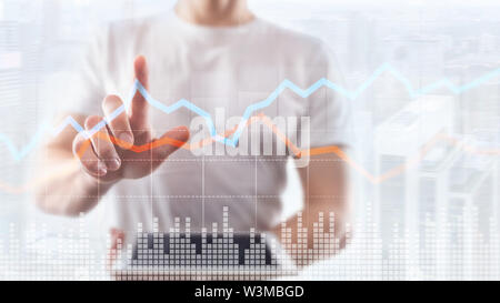 Business Financial Trading Investment concept graph virtual screen double exposure. - Stock Image