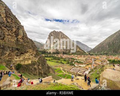 Ollantaytambo, Peru - January 4, 2017. Ollantaytambo city seen from the Ollantaytambo Sanctuary - Stock Image
