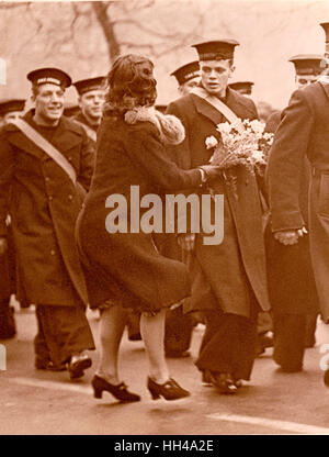 London Graf Spee Victory Parade HMS Exeter Crew - Stock Image