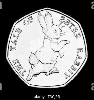 British commemorative 50p coin. Beatrix Potter Peter Rabbit (2017) - Stock Image