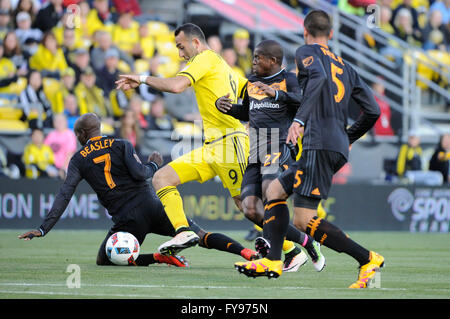 Mapfre stadium, USA. 23rd April, 2016. .Raul Rodriguez, Boniek Garcia, and Houston Dynamo midfielder DaMarcus Beasley - Stock Image