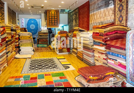 Inside a carpet shop in Arab Street Kampong Glam Singapore - Stock Image