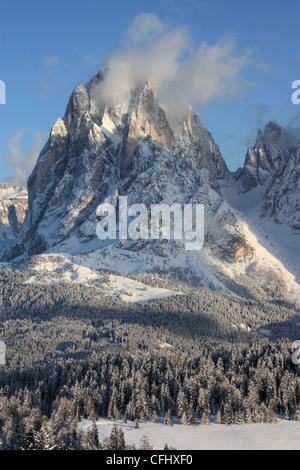 Mount Langkofel / Sassolungo, Seiser Alm / Alpe di Siusi, South Tyrol, Italy - Stock Image