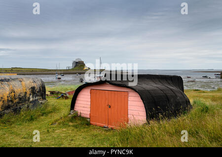 Bright door of shed made of overturned boat cut in half on Holy Island with Lindisfarner Castle ruins under renovation England UK - Stock Image