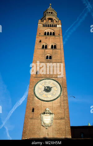 Italy, Lombardy, Cremona, Torrazzo Bell Tower - Stock Image
