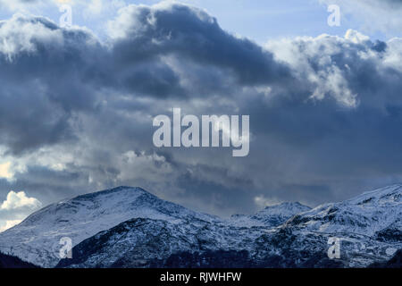 Mountain ranges and rugged landscapes of Snowdonia National Park in Wales, UK - Stock Image