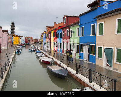 Burano in the Rain - Fondamenta della Guidecca, Burano, Venice, Italy - Stock Image