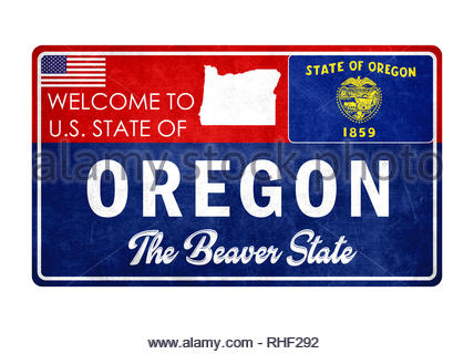 Welcome to Oregon - grunge sign - Stock Image