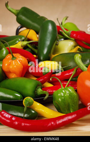 Stock image of chilli pepper still life very colorful an varied - Stock Image