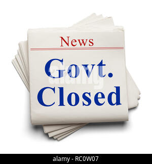 Stack of News Papers with Govt. Closed Headline. - Stock Image