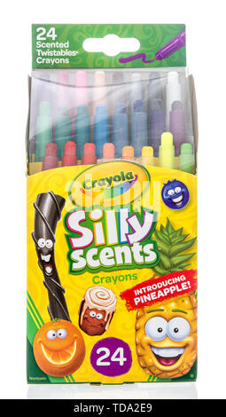 Winneconne, WI - 15 May 2019 : A package of Crayol silly scents crayons 24 on an isolated background - Stock Image