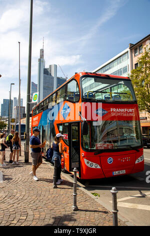 Frankfurt am Main, sightseeing bus, double decker for city tours - Stock Image