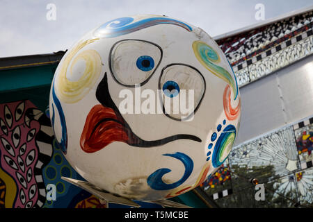 Funny face at colorful funky Safety Harbor Art and Music Center  or SHAMC in Safety Harbor Florida - Stock Image