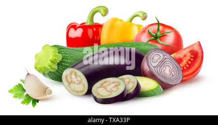 Isolated ratatouille ingredients. Raw cut vegetables (zucchini, eggplant, tomato, onion, pepper, garlic) isolated on white background with clipping pa - Stock Image