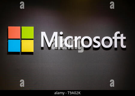 31.03.2019, Hannover, North Rhine-Westphalia, Germany - Microsoft Logo on the booth Hannover Messe. 00X190331D022CAROEX.JPG [MODEL RELEASE: NO, PROPER - Stock Image