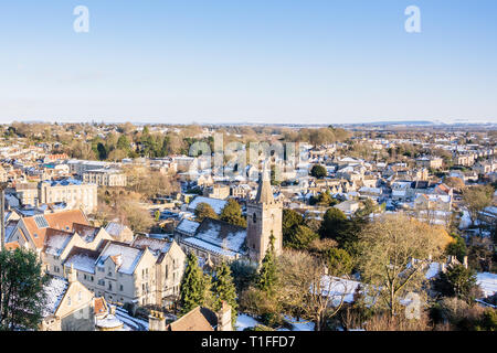 A view looking across a snowy Georgian Bradford on Avon in the sun Wiltshire, UK - Stock Image
