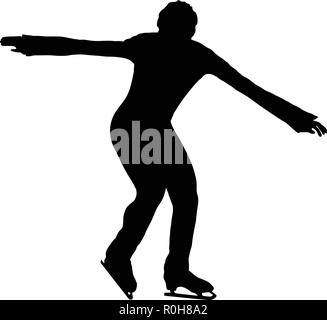 Figure skate man silhouette. Black on white.  Vector illustration. - Stock Image