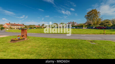 Panoramic view of the rural Lower Teesdale village of Whorlton, County Durham, UK on a fine spring morning - Stock Image