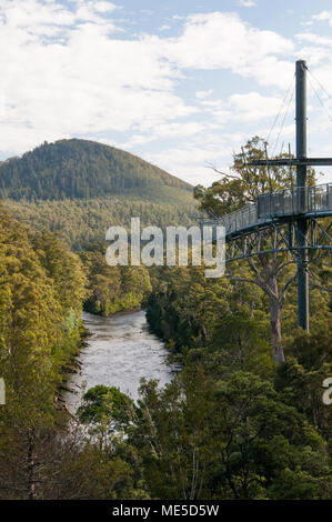 Huon River seen from the Tahune AirWalk, an overhead walkway within the Tahune Forest Reserve, Geeveston, southern Tasmania, Australia - Stock Image