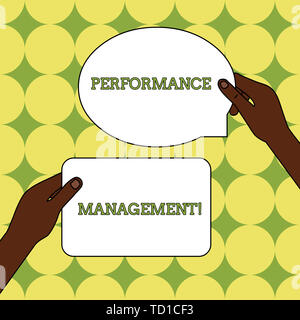 Text sign showing Perforanalysisce Management. Business photo text Improve Employee Effectiveness overall Contribution Two Blank Figured Tablets Signs - Stock Image