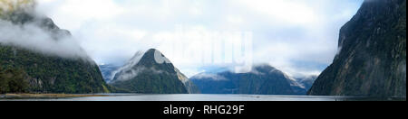 Panoramic view over Milford Sound, Fjordland, South Island, New Zealand - Stock Image
