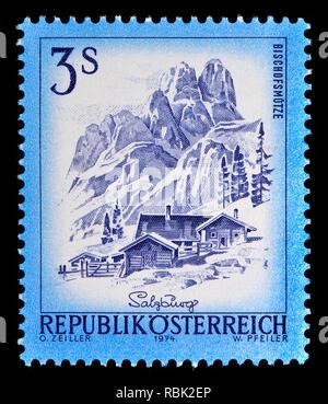 Austrian definitive postage stamp (1974) : Bischofsmutze - Stock Image