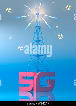 Conceptual illustration representing the dangers of the new 5G mobile data network. Some have proposed that the new fifth generation network poses a h - Stock Image