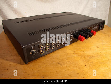 Rear panel of an Aura brand stereo amplifier - Stock Image
