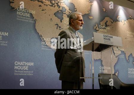 London, UK. 19th Jul, 2017. Dr Kamal Kharazi, former Iranian minister of foreign affairs, speaking at Chatham House - Stock Image