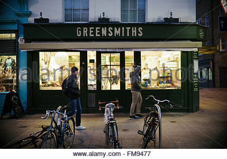 Exterior of Greensmiths, a small local supermarket at 27 Lower Marsh, Waterloo, London SE1, UK. - Stock Image