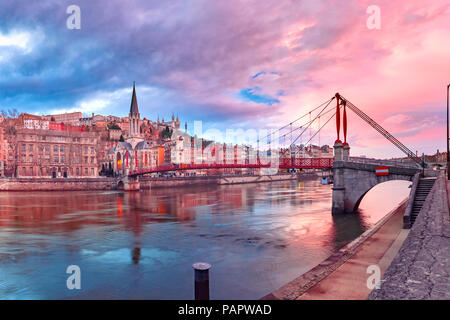 Old town of Lyon at gorgeous sunset, France - Stock Image