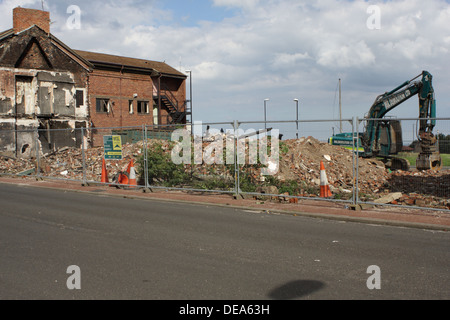 Demolition of Homes and Businesses. - Stock Image