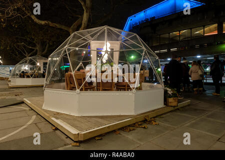 Pop-up private dining 'pods' / Igloos in front of the Queen Elizabeth Hall, South Bank, London, England - Stock Image